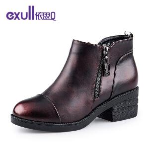 依思q个性双面拉链粗跟中跟短靴时尚女靴子