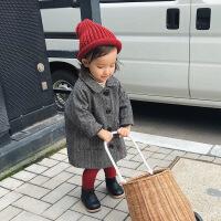 婴童装女童毛呢大衣秋冬装1-3岁宝宝人字纹中长款呢子外套 人字纹