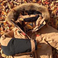 韩国ins同款军工装羽绒服女中长款派克大毛领加厚户外冬外套BF风 浅驼色