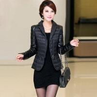 时尚羽绒服短款秋冬女装修身显瘦白鸭绒小个子轻薄款外套 黑色