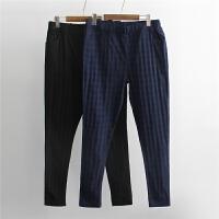 大码女装春装新款时尚凹凸格子纹松紧腰高弹力薄款小脚裤长裤