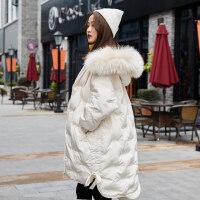 羽绒服女中长款2018新款韩版潮加厚宽松时尚白鸭绒修身冬季大毛领