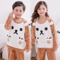 秋冬季儿童睡衣法兰绒男童女童珊瑚绒小孩宝宝套头厚款家居服套装