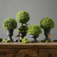 乡村仿真树球盆景 植物假盆栽室内绿植摆件办公室桌面装饰品