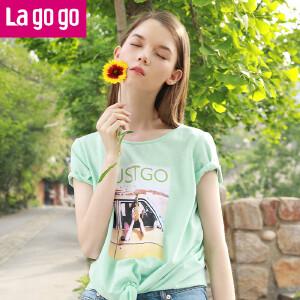【618大促-每满100减50】Lagogo2017夏季新款直筒印花短袖圆领T恤女宽松绿色心机露背上衣