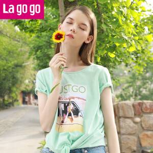 Lagogo2017夏季新款直筒印花短袖圆领T恤女宽松绿色心机露背上衣