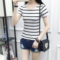 2018夏季装新款韩版条纹T恤女上衣短袖短款圆领百搭修身上衣女装