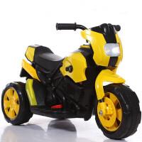 【新款】儿童电动车三轮车摩托车汽车玩具 男女孩子车宝宝童年充电池脚踏车助步车溜溜滑行车 黄色 6V10A大电瓶