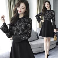 蕾丝连衣裙女秋冬新款冬季黑色长袖 内搭打底裙A字裙