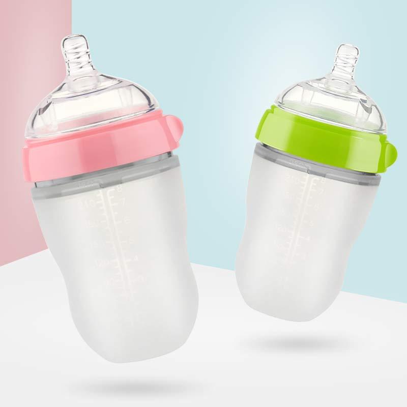 宝宝新生儿童婴儿喝水宽口径带吸管手柄奶嘴全硅胶奶瓶