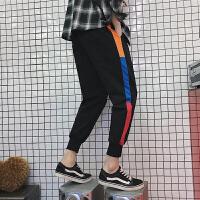 胖人春季条纹九分裤男休闲裤加肥大码运动裤宽松束小脚裤韩版潮流