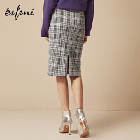 伊芙丽冬装新款韩版裙子气质港味中长裙复古格子半身裙女