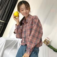 格子衬衫女长袖韩版文艺学生百搭POLO领打底衬衣甜美学院风少女心