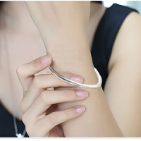 可刻字 手镯女款圆条光面可简约时尚镀银手环开口镯子