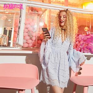 【秒杀价:220】妖精的口袋日系裙子新款甜美荷叶袖chic雪纺连衣裙女