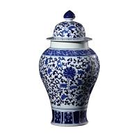 客厅装饰品摆件陶瓷器花瓶仿古手工青花瓷将军罐盖罐