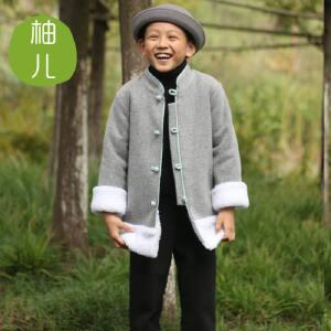 柚儿童装 男童女童中大童羊毛呢子外套中长款加厚大衣2017新秋冬