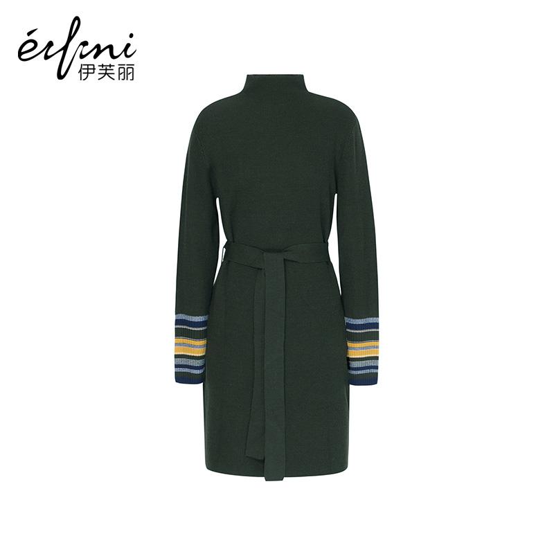 2件4折 【商场同款】伊芙丽冬装新款韩版长袖套头羊毛修身针织连衣裙