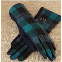 显瘦简约格子保暖分指手套秋冬季含量羊毛手套