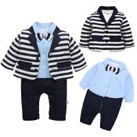 一岁宝宝冬装男童绅士礼服连体衣新生儿衣服冬季加厚保暖宝宝套装