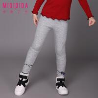 米奇丁当童装女童儿童长裤新品冬装休闲纯色修身弹力打底裤