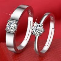 S925纯银情侣戒指一对刻字饰品男女活口对戒简约开口指环结婚钻戒