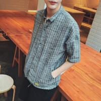 夏季日系男士衬衣棉麻口袋格子五分袖衬衫宽松舒适透气中袖寸衫潮