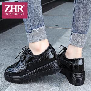 ZHR2017秋季新款英伦风小皮鞋百搭休闲鞋厚底松糕女鞋布洛克单鞋E110