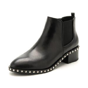 迪芙斯(D:FUSE)牛皮革铆钉方跟圆头粗跟时尚百搭切尔西女短靴  DF74116043