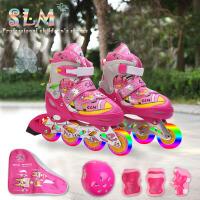 溜冰鞋儿童全套装轮滑鞋旱冰鞋成年人男女可调闪光小孩