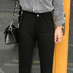 安妮纯百搭黑色休闲裤女外穿夏季薄款2020新款韩版高腰显瘦九分小脚铅笔黑裤