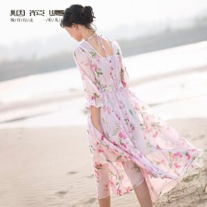 烟花烫  2018夏季新款雪纺防晒罩衫+蕾丝背带连衣裙时尚套装 春启