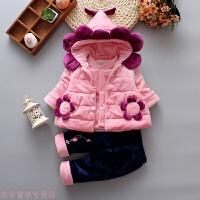 冬季女童装秋冬款0-1-2岁婴儿三件套装宝宝3-6-9个月新生儿棉衣服春装秋冬新款 粉红色 葵花