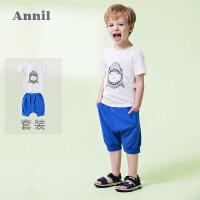 【2件35折:83.65】安奈儿童装男童套装夏装新款男宝宝全棉短裤短袖T恤两件套装