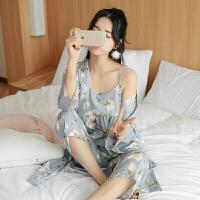 2018新款日系睡衣女夏季韩版春秋款冰丝日式和服性感三件套家居服套装夏天