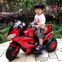 创意新款可坐人儿童电动车儿童电动摩托车三轮车1-3-6岁小孩玩具车可坐人宝宝充电遥控童车 版烤漆红早教灯光大电瓶 双驱