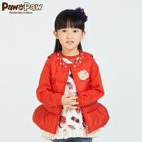 【3件2折 到手价:120】Pawinpaw宝英宝小熊童装春季款女童纯色羽绒背心