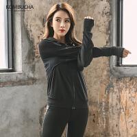 【女神特惠价】Kombucha运动健身外套女士舒适弹力透气连帽套指健身晨跑开衫外套YGC42