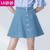 【5折价64.5】Lagogo2017夏季新款高腰半身裙A字裙百搭裙子纯色显瘦牛仔半裙女