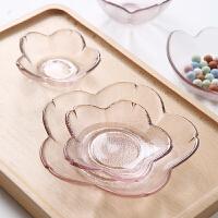 可爱创意樱花玻璃碟盘粉色小碗调味碟酱料醋碟水果碟小吃餐具