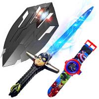 万圣节美国队长盾牌新款发光变形爪盾儿童玩具男女孩cos表演装备