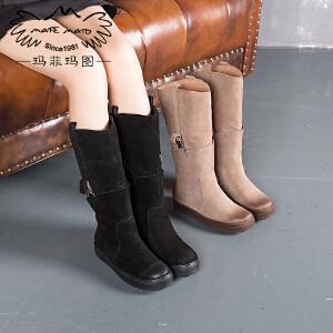 【下单只需要228元】玛菲玛图秋冬加绒高筒靴女靴子中跟平底套筒靴女士马丁靴362-2N秋季新品