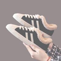 女2018新款冬季加绒棉鞋百搭学生韩版加厚运动板鞋小白鞋子