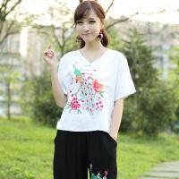 中国风女装棉麻大码衬衫女绣花孔雀绣花衬衣短袖民族风女上衣夏装