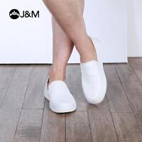 【低价秒杀】jm快乐玛丽春季时尚平底套脚素面白色平跟休闲鞋男鞋子