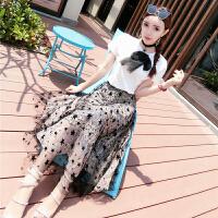 夏装新款甜美洋气学生百搭蝴蝶结T恤+星星大摆长裙套装 女