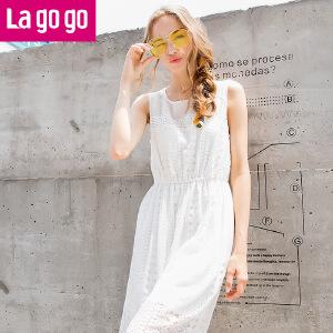 Lagogo2017夏季新款圆领镂空高腰显瘦裙子中长款白色无袖女连衣裙