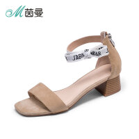 茵曼鞋子2018新款女凉鞋中跟港风chic欧美街拍女鞋4882050195