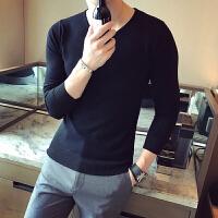 Calvirl Kleirl CK男士修身型白色针织衫V领毛衣春秋韩版潮流紧身毛衫