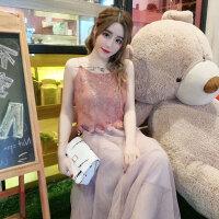 度假裙子潮2018夏三亚旅游吊带短上衣网纱半身裙沙滩裙2件套女